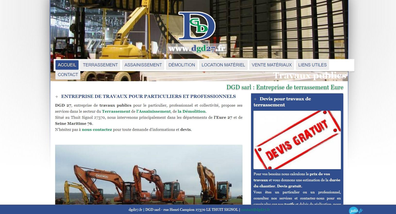 DGD 27, Entreprise de travaux publics - Assainissement et terrassement en Normandie